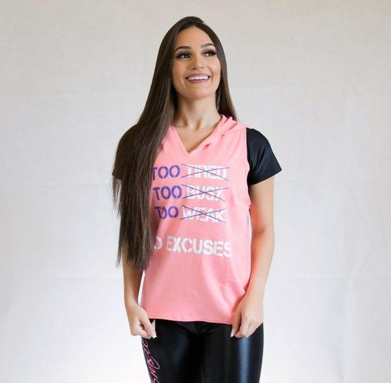 Colete Blusa C/capuz Feminino Fitness No Excuses Rosa