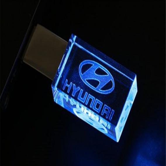 Pen Drive 32gb Cristal Led Hyundai Azul - Promoção Relâmpago
