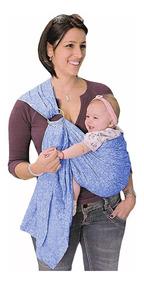 Sling Com Argola Rede Carregador De Bebê Amamentação Azul