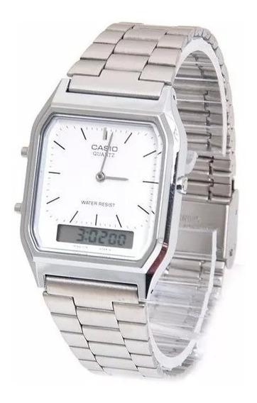 Relógio Cassio Aq-230a-7dmq Prata Original Super Promocao