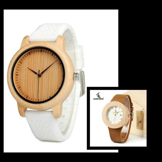 Kit 2 Relógios Bobo Brid Madeira P. De Couro E Silicone