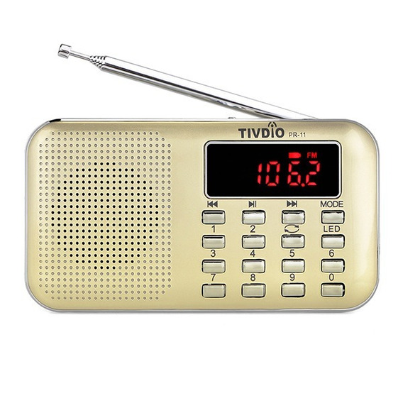 Rádio Receptor Tivdio Pr-11 Am/fm Mp3 Player Usb Cor Bege