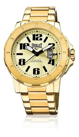 Relógio Pulso Everlast Masculino Calendário Aço Dourado E644
