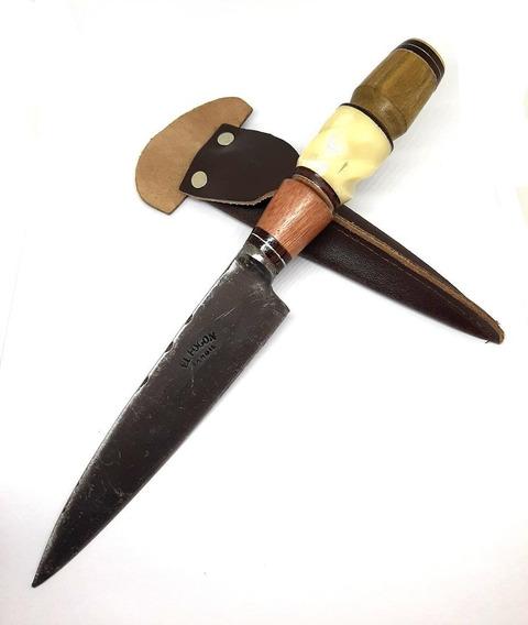 Cuchillo Criollo Artesanal Tandil Hoja 14cm Madera Gallonada