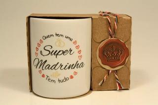 Casamento Caneca Porcelana Super Padrinhos 120ml 6 Unid