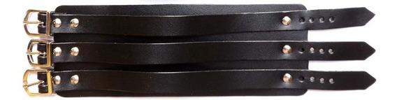 Bracelete Três Fivelas Couro Unissex
