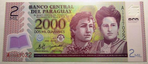 Paraguay Billete Polimero 2000 Guaranies Unc 2008 Pick 228a
