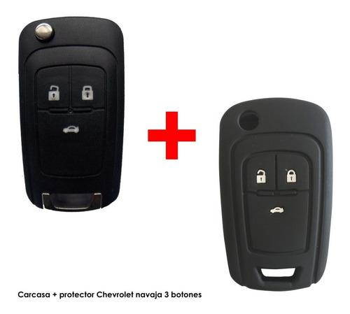 Carcasa Llave Plegable Chevrolet 3 Botones + Funda Silicona