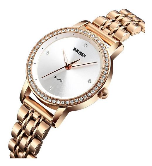 Relógio Feminino De Luxo Skmei 1311 Ouro Rose C/ Brilhantes