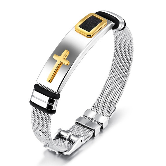 Pulseira Bracelete Unissex Aço Inox + Folheado Ouro 18k N01