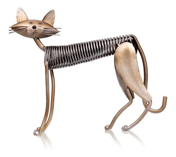 Tooarts Metal Escultura Estação Primavera Ferro Art Cat Cat