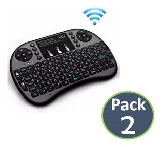 Pack X2 Mini Teclado Inalambrico Smart Tv Box Pc, Control Tv