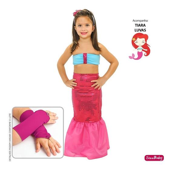 Vestido Infantil Pequena Sereia Ariel Barbie Fantasia Luxo