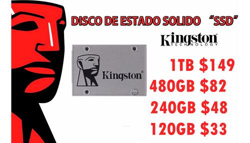Discos Sólidos Ssd Kingston 120gb $33, 240gb $48,  480gb