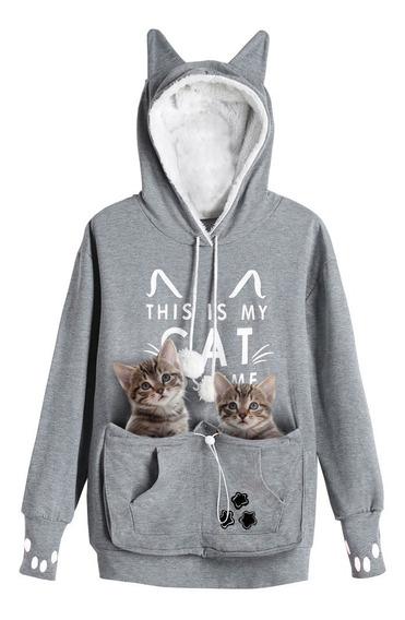 Suéter Con Capucha Con Estampado De Gato, Para Dama
