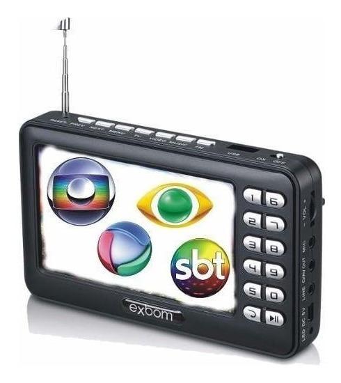 Tv Portatil Digital Mini Com Conversor Usb Sd Recarregavel