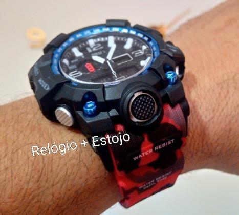 Relógio S Shock Pro Dágua Preto Vermelho Azul Digital # 1155