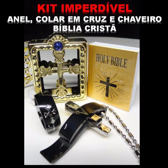 Crucifixo Anel Chaveiro Bíblia Kit Cristão Gospel Religião