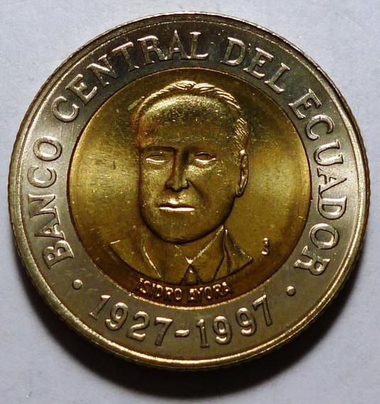 Ecuador Bimetalica 70 Aniv Del Banco Central 500 Sucres 1997
