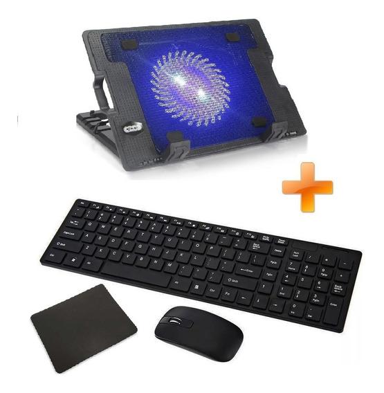 Kit Suporte Apoio Base Notebook 17 + Teclado E Mouse S/ Fio