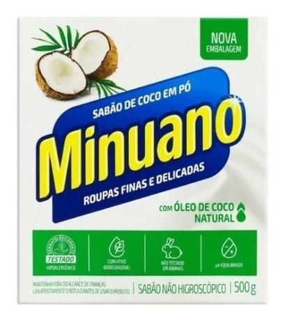 Sabão Em Pó De Coco Roupas Finas E Delicadas 500g Minuano