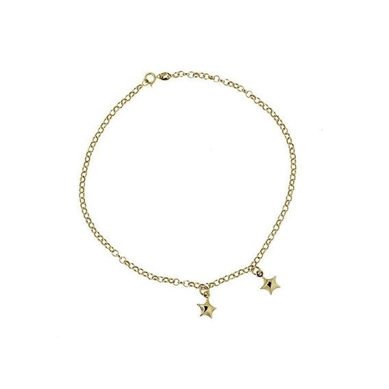 Tornozeleira Estrelas Ouro 18k - Código 1443
