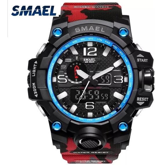 Relógio Smael 1545 Camuflado Vermelho/preto A Prova D