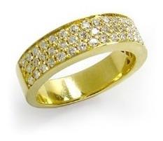 Meia Aliança De Ouro 18k E Diamantes Com Forro Vivar Joias