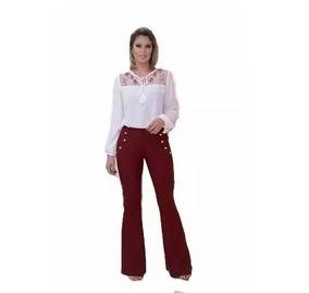 b9e86f2026 Calça Jeans Feminina Sawary - Calças Jeans Feminino Bordô no Mercado ...