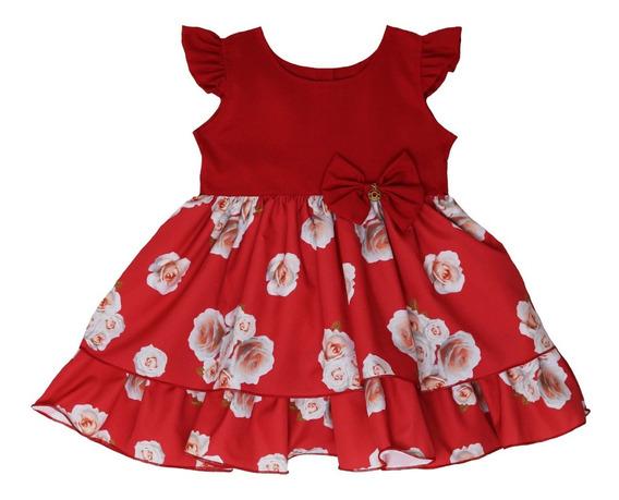 Vestido Infantil Festa Tam: Pmg Vermelho Florido Katitus 1367