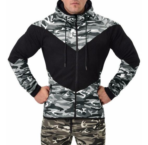 Casaco De Moletom Blusa Masculina De Frio Zíper Camuflada