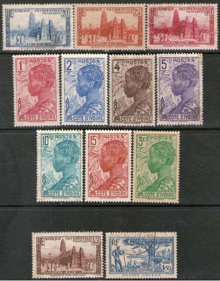 Costa De Marfil 12 Sellos Mezquita = Ganado = Años 1936-42