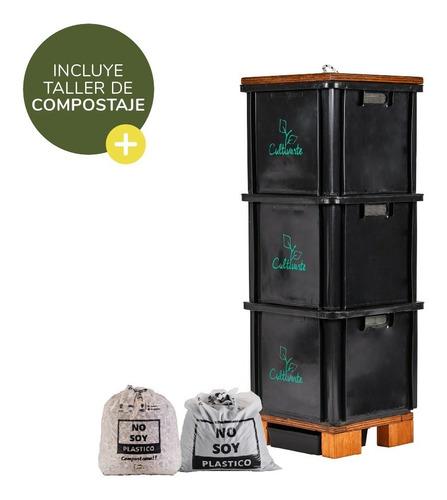 Imagen 1 de 8 de Compostera 3 Cajones Plástico Reciclado Negra (caba)