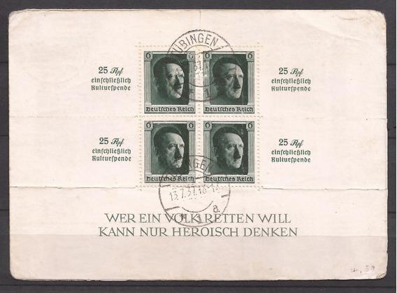 Alemania 1937 Postkarte Con Bloque Del Fuhrer -116