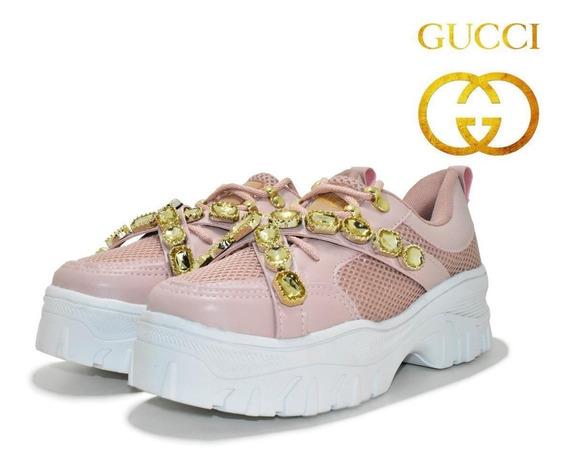 Tênis Plataforma Pedrinha Gucci Casual Feminino Lançamento!!