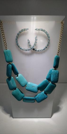Conjunto Brinco Strass + Colar De Pedras Azul Acua