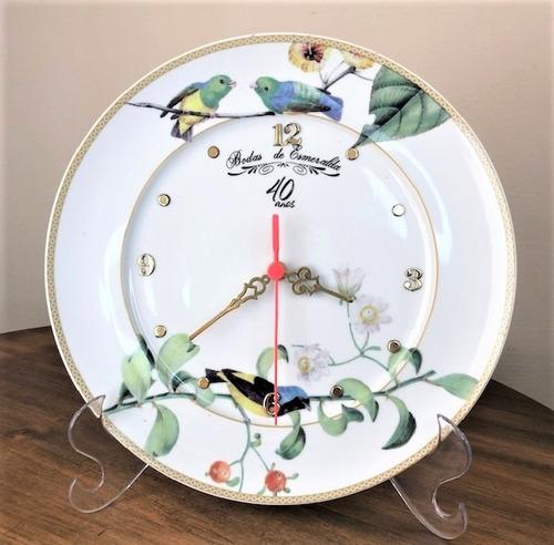 Imagem 1 de 4 de Relógio 40 Anos Bodas De Esmeralda 27,5cm