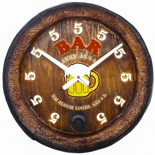 Relógio Barril Decorativo De Parede Grande - Bar
