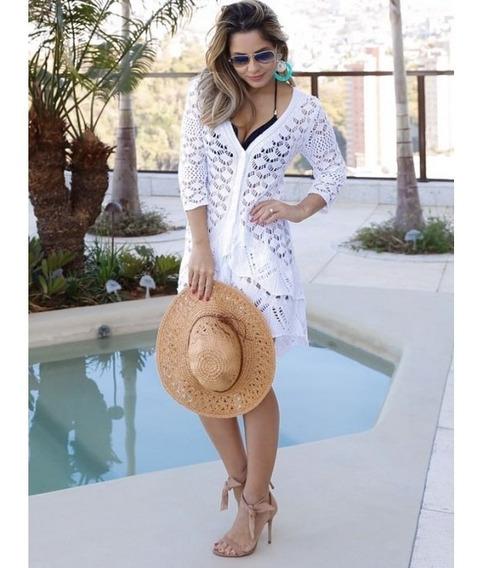 Blusa Saída De Praia Kimono Tricot Linho Tipo Rendado Crochê