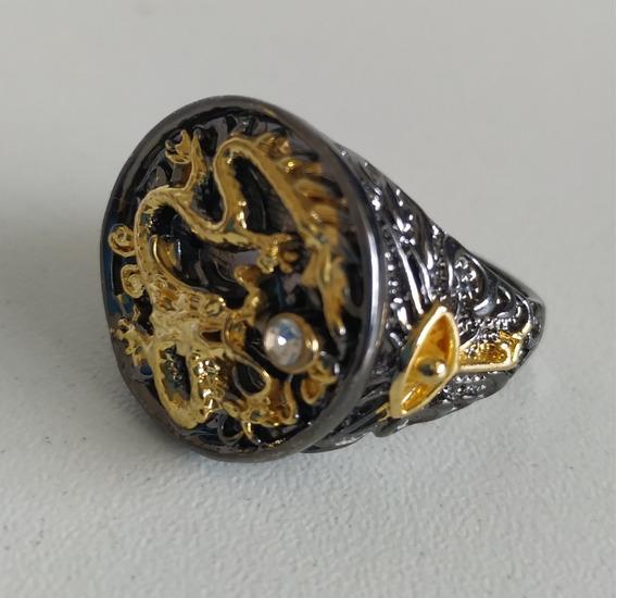 Anel Masculino Águia Dourada Luxo Aço Titanium Black Gold
