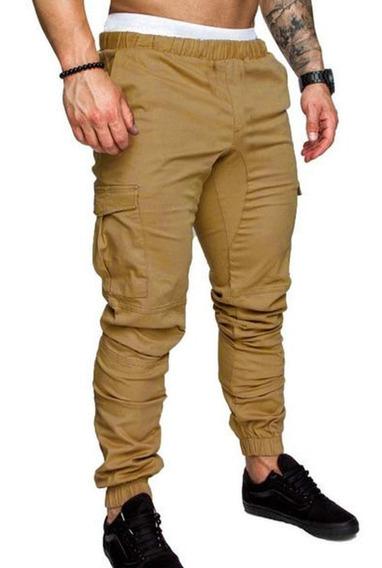 Pantalon Cargo Con Puño Beige Negro Y Verde Talles S Al Xxl