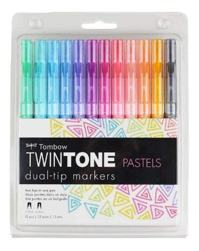 Imagen 1 de 4 de Marcadores Doble Punta Tombow Twintone Colores Pastel