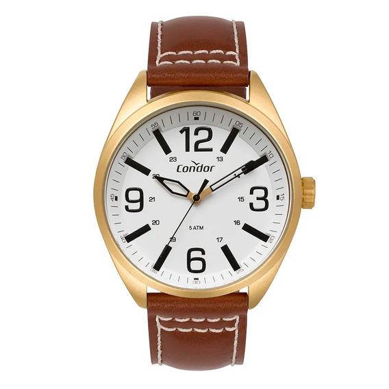 Relógio Condor Masculino Couro Dourado Co2035mpf/2b