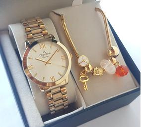 Relógio Champion Feminino Dourado + Pulseira Cn25163s