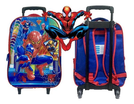 Mochila Escolar Homem Aranha Com Rodinhas Tamanho G - 3d