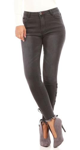 Jeans Mujer Elastizados Gris Loquierotodo