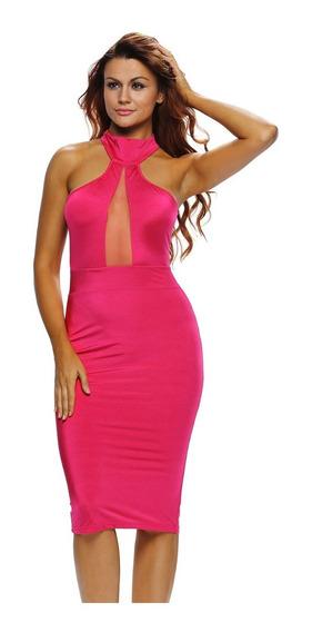 Vestido Sexy Rosa Transparencia Frente Moderno Antro 60880