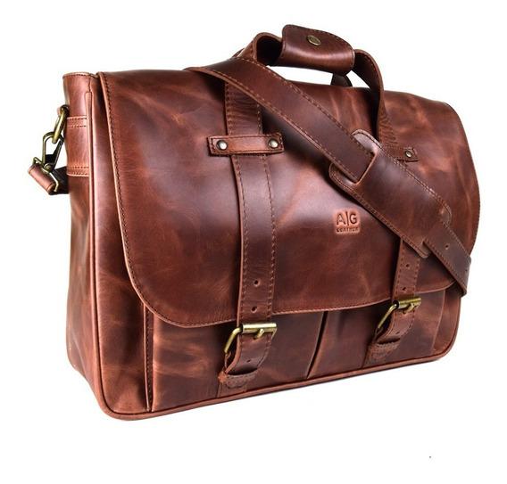 Portafolio Ag Leather Montana Xl Oficio 100% Piel Old West