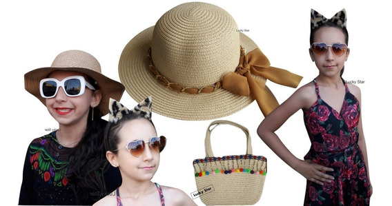 Bolsa Praia Infantil + Chapéu 4 Até 8 Anos + Tiara Menina Kit