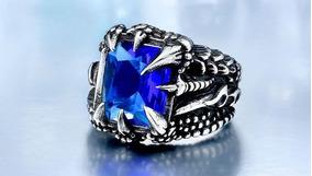 Anel Garra De Dragão Aço Inox Prateado Com Pedra Azul